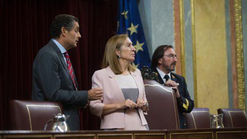 Ana Pastor, presidenta del Congreso, observando los carteles en apoyo a los detenidos en Cataluña. (Foto: FRANCISCO TOLEDO)