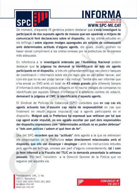 Nota del sindicato de mossos SPC