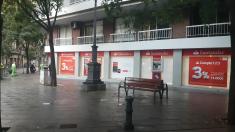 Oficina de Banco Santander en Barcelona, este viernes.