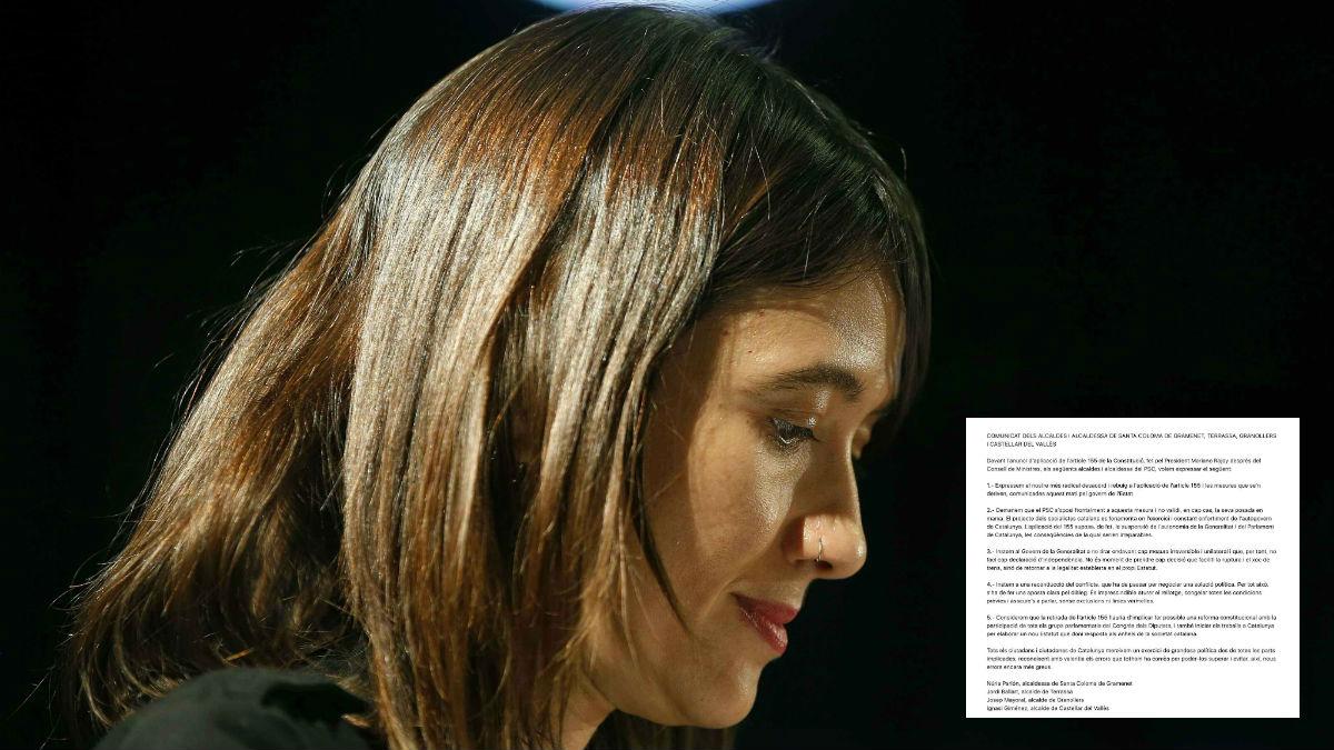 La número 2 del PSC, Núria Parlon. líder del comunicado rebelde contra el artículo 155 de cinco alcaldes socialistas catalanes.