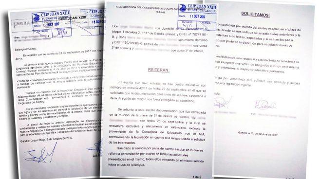 Un colegio de Valencia se niega a dar a los padres información en castellano