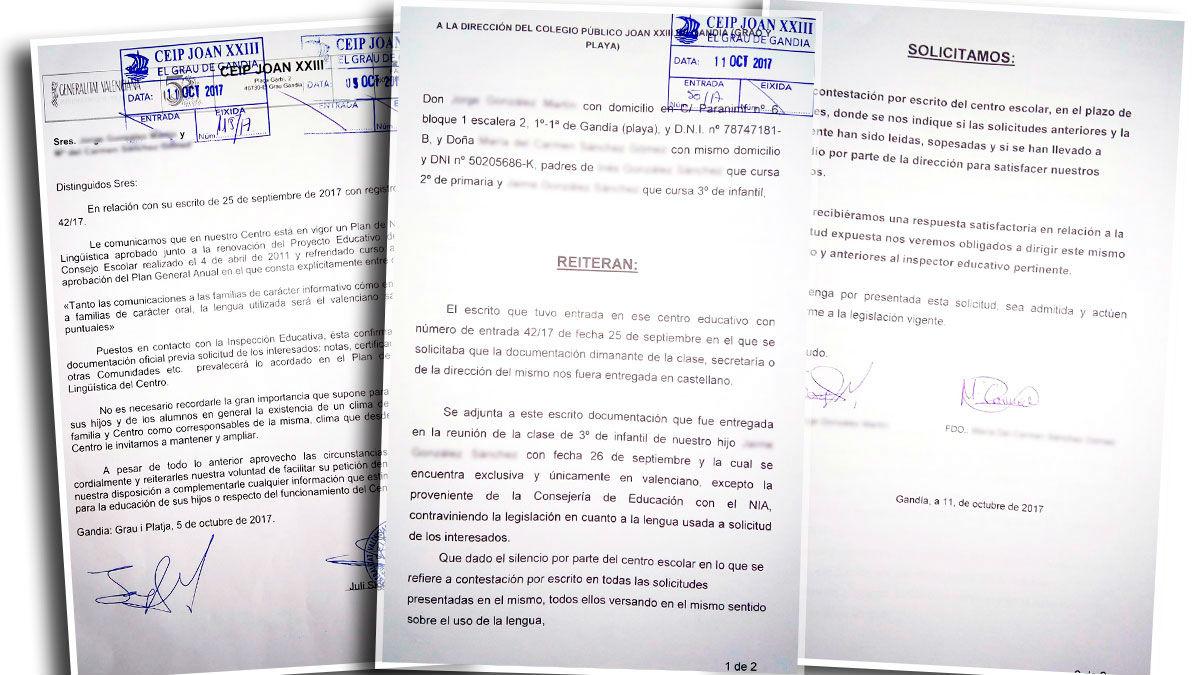 Cartas remitidas entre los padres y la dirección del centro.