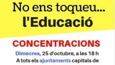 Cartel del sindicato independentista de la enseñanza contra el artículo 155 de la Constitución.