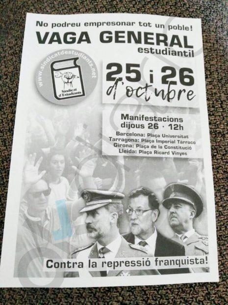 Cartel de la huelga estudiantil contra el 155