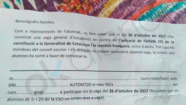 Nota a los padres y madres de alumnos del IES Gorgs para que sus hijos puedan ir a la huelga independentista contra el 155