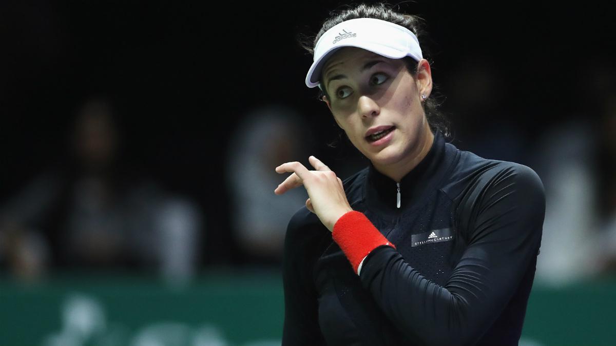 Garbiñe Muguruza durante el partido ante Karolina Pliskova. (Getty)