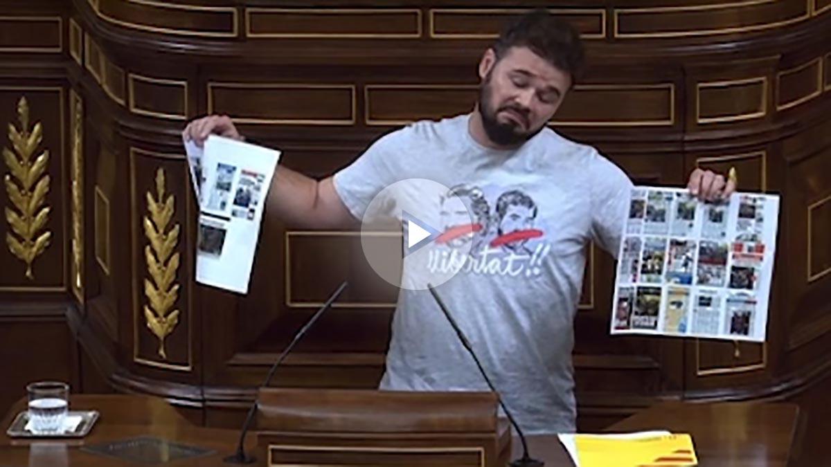 Gabriel Rufián, este martes en el Congreso