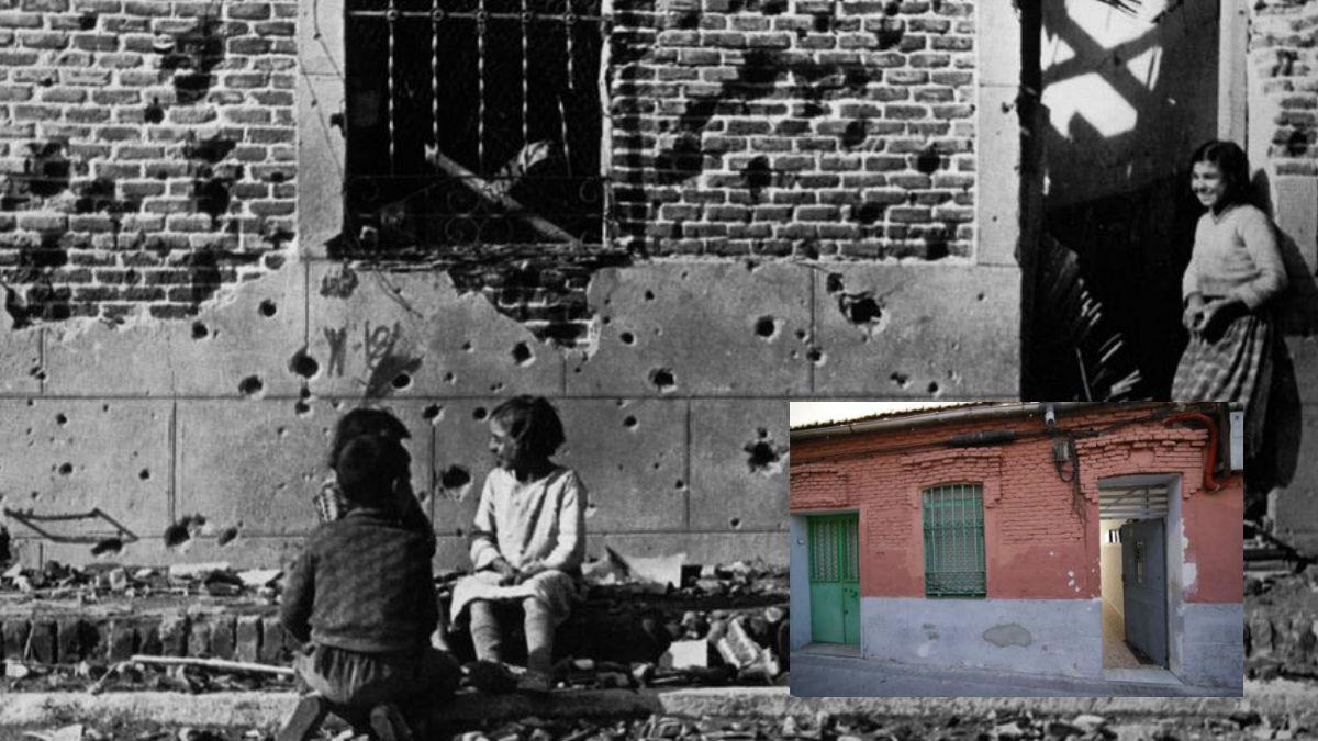 La foto de Peironcely 10 realizada por Robert Capa durante la Guerra Civil (en blanco y negro) y el inmueble en la actualidad (en color).