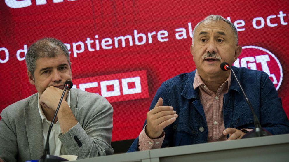 Los líderes de CCOO y UGT, Unai Sordo y Josep Álvarez (Foto: EFE). | Última hora Cifuentes
