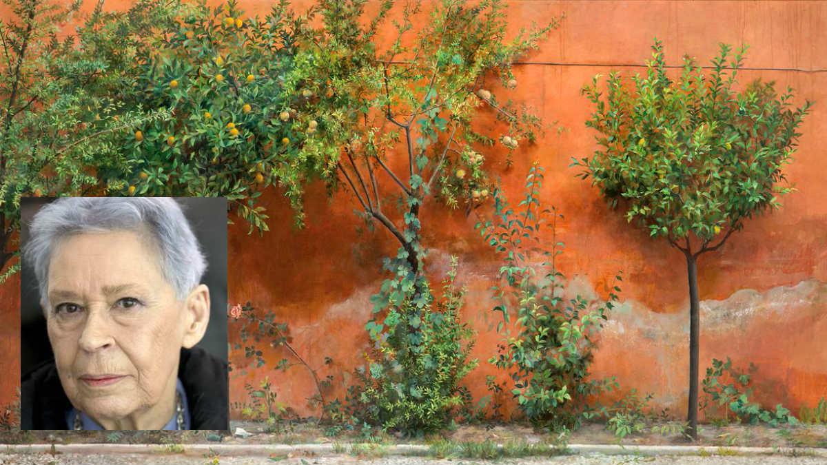 Isabel Quintanilla y una de sus obras, 'El jardín'.