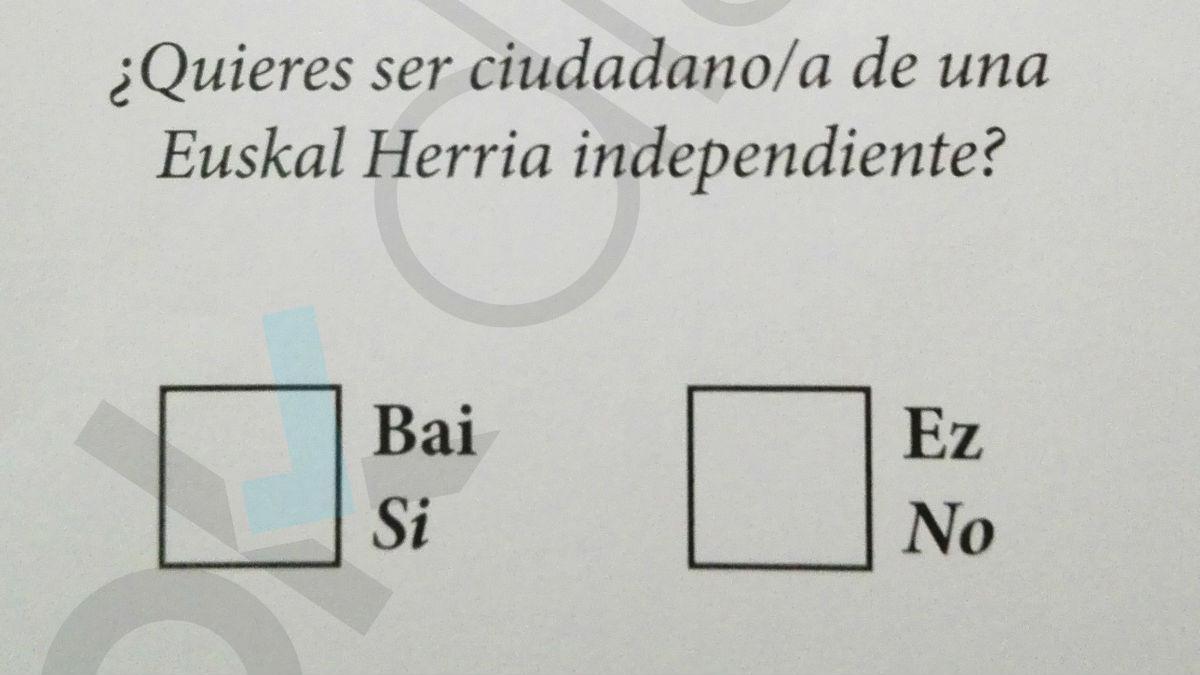 Papeleta para el referéndum del 5-N que los independentistas de Galdácano están organizando