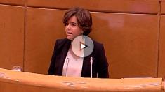 La vicepresidenta, Soraya Sáenz de Santamaría, en la comisión del 155 del Senado.