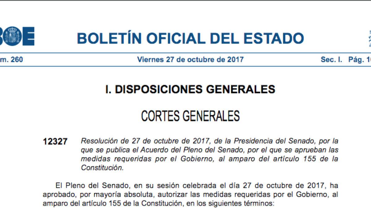 El BOE publica la autorización del Senado para que el Gobierno aplique el 155 en Cataluña
