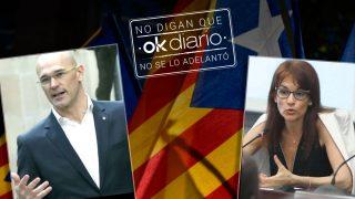 """El autoproclamado """"ministro de Asuntos Exteriores de Cataluña"""" Raül Romeva y su """"embajadora"""" en Copenhague, Francesca Guardiola."""