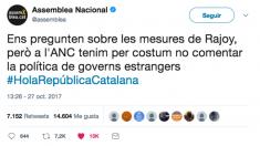 Tuit publicado por la Asamblea Nacional Catalana (ANC) tras el Consejo de Ministros que acordó aplicar el artículo 155.
