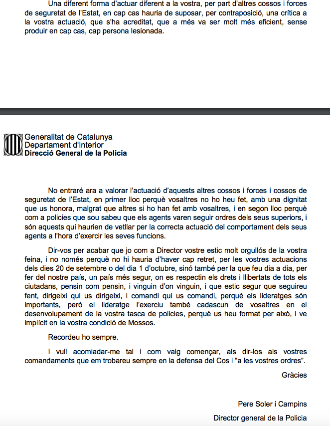 """La carta de despedida de Soler a los Mossos: """"Orgulloso"""" del golpe, """"sé que seguiréis haciéndolo"""""""
