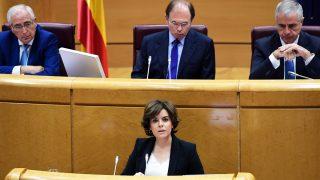 Soraya Sáenz de Santamaría comparece en el Senado. (Foto: Getty)