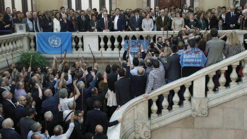 Los alcaldes independentistas con Puigdemont