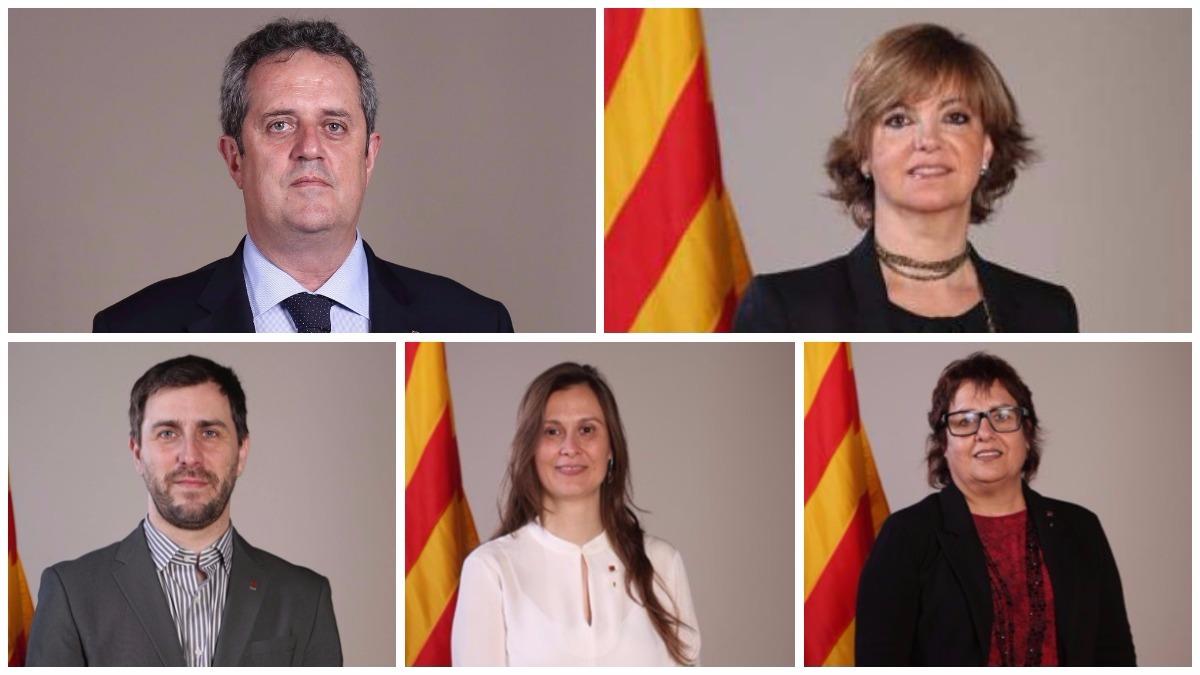 Los cinco consellers que acompañaron a Puigdemont a Bruselas.