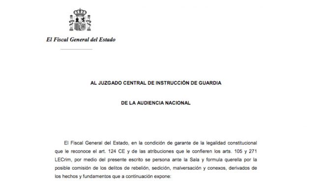 Consulte aquí las querellas contra Puigdemont, su Govern, Forcadell y la Mesa del Parlament