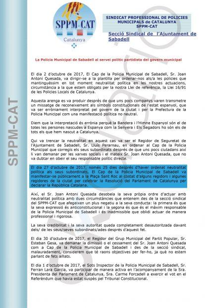 El Sindicato SPPM denuncia la actuación de la cúpula de la Policía de Sabadell