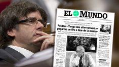 El ex presidente de la Generalitat Carles Puigdemont ante la portada de 'El Mundo' con la entrevista exclusiva al huido Luis Roldán en 1994.