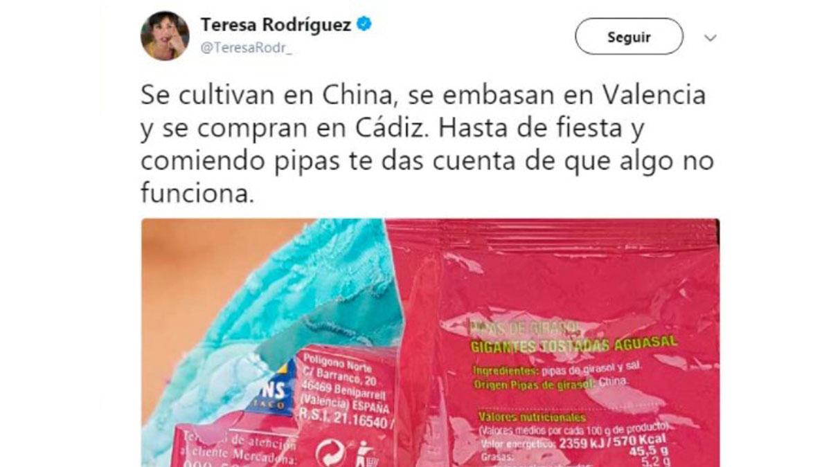 El tuit de Teresa Rodríguez.