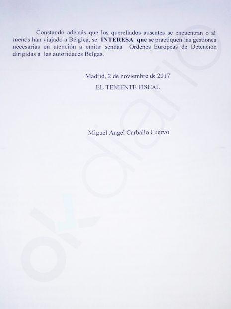 La Fiscalía pide orden de detención internacional contra Puigdemont