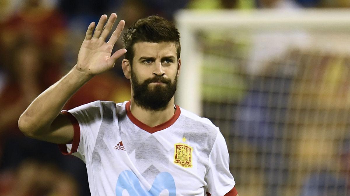 Gerard Piqué en un partido con la selección española. (AFP)
