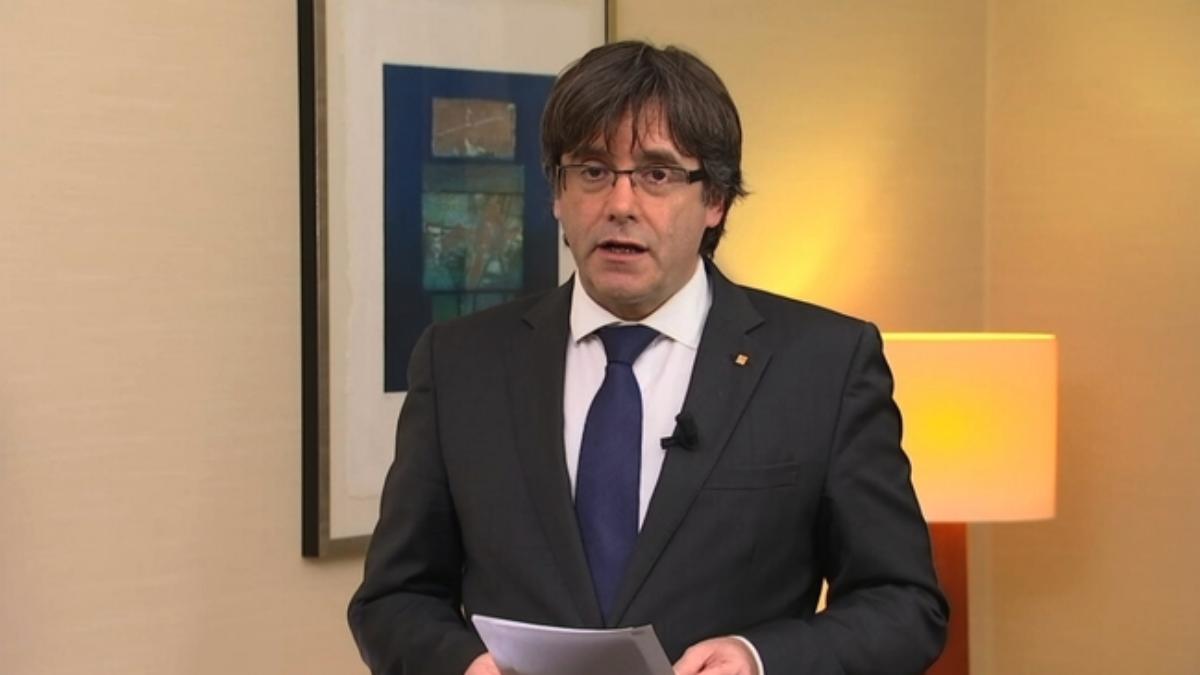 Puigdemont durante una comparecencia, desde Bruselas.