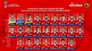 La convocatoria de España contra Costa Rica y Rusia.