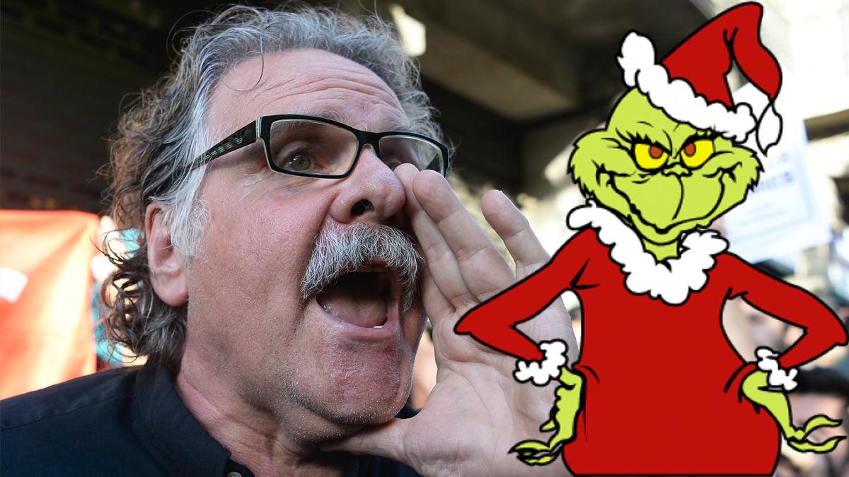 Joan Tardà y 'El Grinch', el personaje de cuento que quiere robar la Navidad. (Foto: AFP)