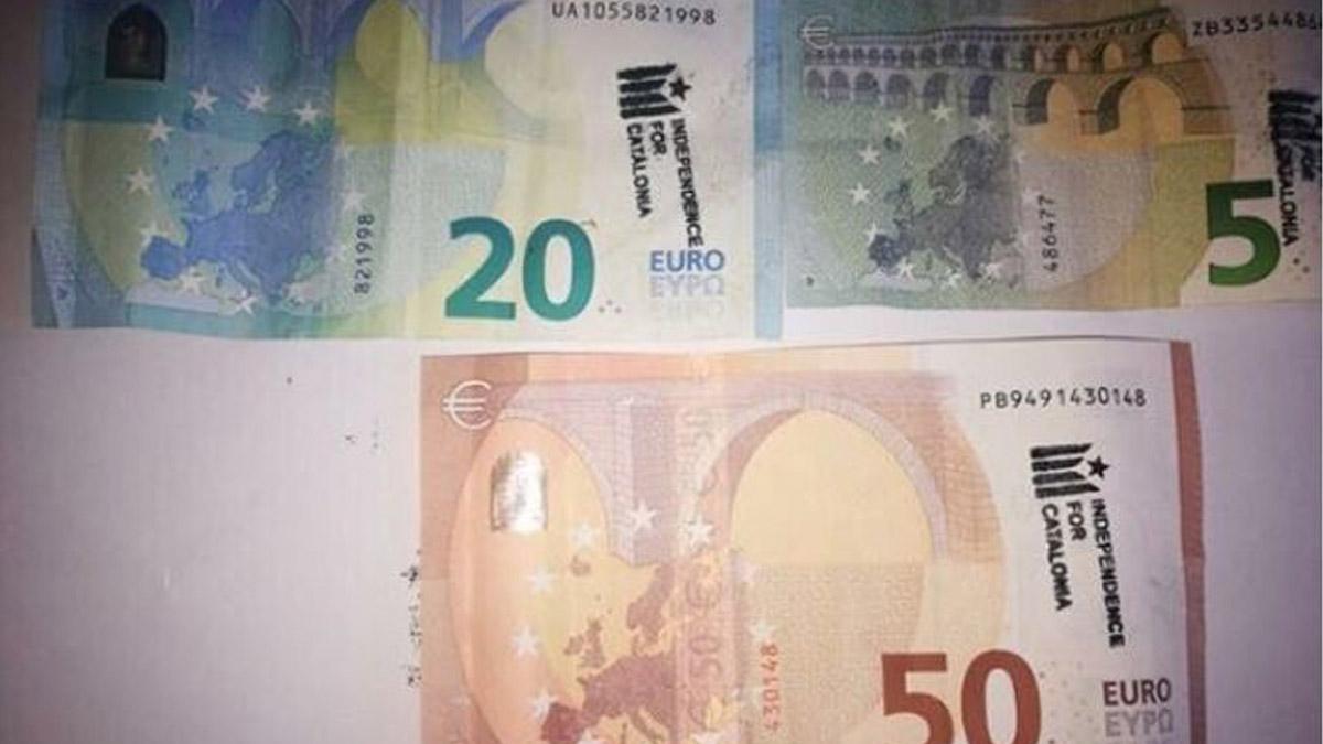 Billetes marcados por la independencia de Cataluña.