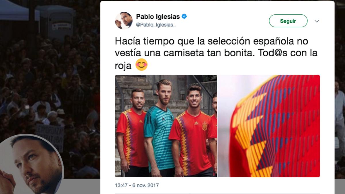 Tuit de Pablo Iglesias sobre la nueva camiseta de España.