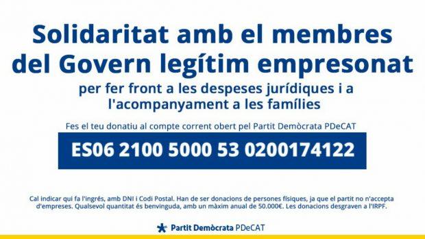 El nuevo 3%: el PDeCAT usa cuentas del partido para recaudar dinero para los golpistas presos