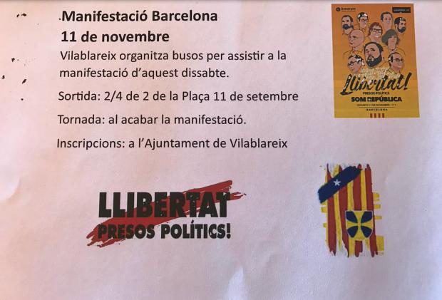 Octavillas buscando autobuses manifestación por los presos políticos 11-