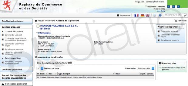 La empresa Hanson Holding Lux investigada en Lezo (Registro de Luxemburgo).