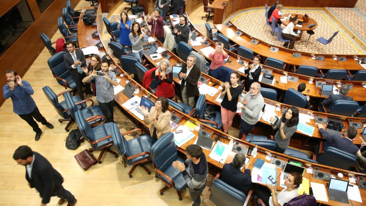 Bancada de Podemos en la Asamblea de Madrid