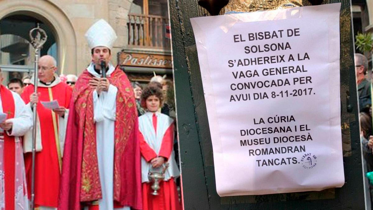 El obispo de Solsona Xavier Novell cierra la curia en la huelga independentista del 8-N