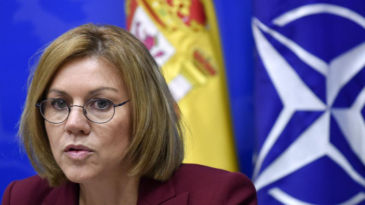 María Dolores de Cospedal en los cuarteles generales de la OTAN en Bruselas. (AFP)