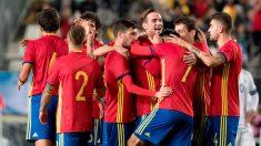 La sub-21 celebra el gol de Fabián ante Islandia. (EFE)