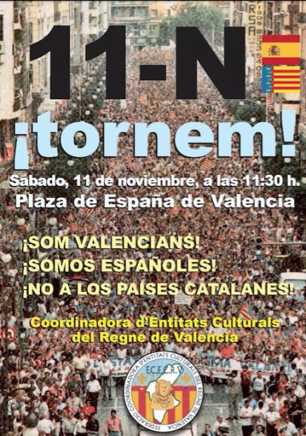"""Una manifestación reivindica este sábado que Valencia es parte de España y no de los """"Països Catalans"""""""