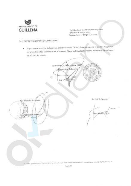 Intervención del Ayto. de Guillena sobre la contratación irregular de la prima de la diputada del PSOE-A