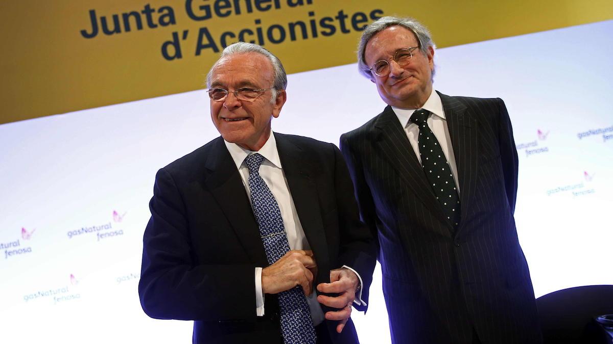 El presidente Gas Natural Fenosa, Isidro Fainé (i), y el consejero delegado, Rafael Villaseca. (Foto: EFE)