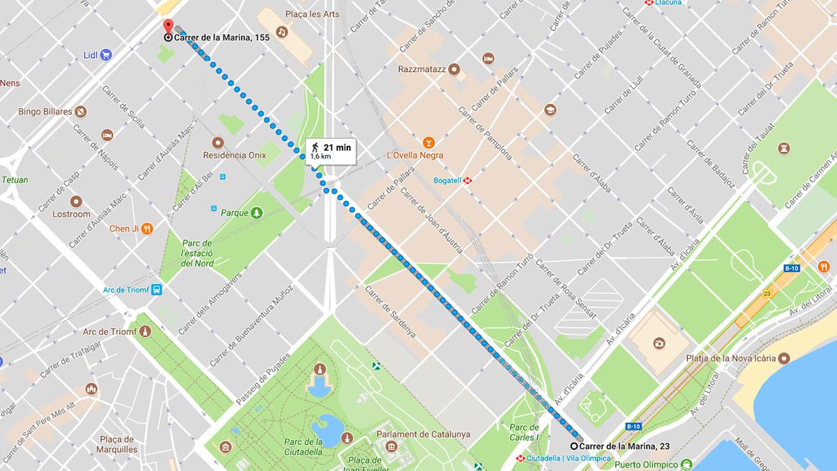Los manifestantes han ocupado un tramo de 1,6 kilómetros de la calle Marina, entre la Gran Vía e Icaria.