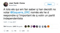 Mensaje publicado este sábado por Joan Tardà en Twitter.