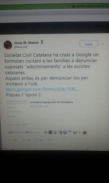 Los separatistas llaman a llenar de pruebas falsas el informe de adoctrinamiento escolar en Cataluña