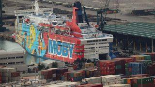 El barco Piolín, alojamiento de policías y guardias civiles, en el Puerto de Barcelona.