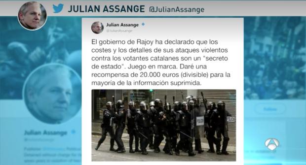 El acusado de violación Assange ofrece 20.000 euros a quien revele el dispositivo policial del 1-O