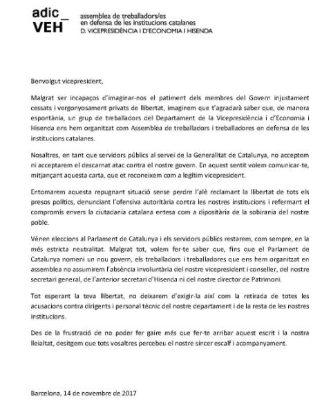 Funcionarios catalanes se rebelan contra el 155 y reconocen a Junqueras como legítimo vicepresidente